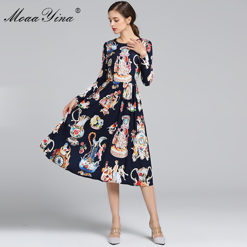 MoaaYina 2019 Fashion Designer Runway Dress Spring Autumn Women Long sleeve Angel Floral Print Vintage Elegant