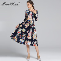 MoaaYina 2019 Fashion Designer Runway Dress Spring Autumn Women Long sleeve Angel Floral Print Vintage Elegant Dress Vestidos