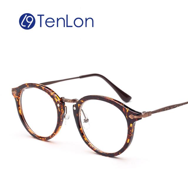 TenLon Очки Круглые Старинные Печати Очки Кадр Рецепту Мода женщин Очки óculos de грау femininos кадр очки