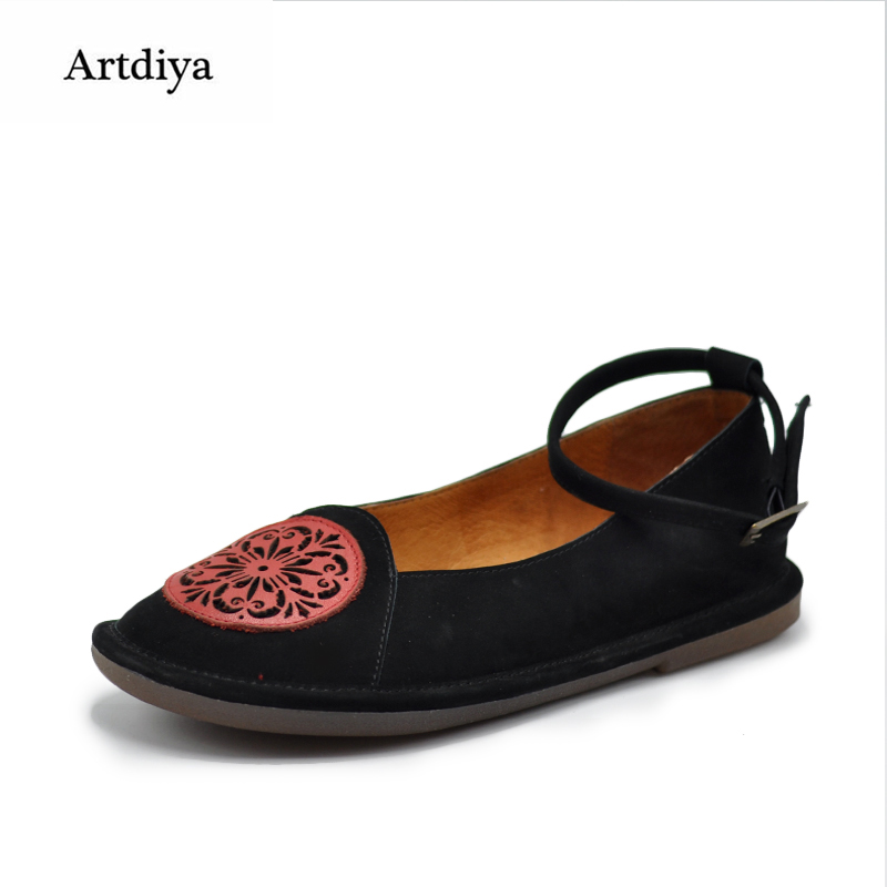 Artdiya Original Retro Shallow Mouth Handmade Women Shoes Comfortable Flat Soft Soles Buckle Genuine Leather Shoes 808-50 aiyuqi 2018 new genuine leather women s shoes shallow mouth soft nurse shoes comfortable work spring shoes women