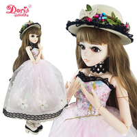24 BJD Full Set + Doris Forest Hatter Girl 1/3 BJD Doll SD Doll 60cm 24 inch jointed dolls + Accessories HAT Clothes Shoes Gift