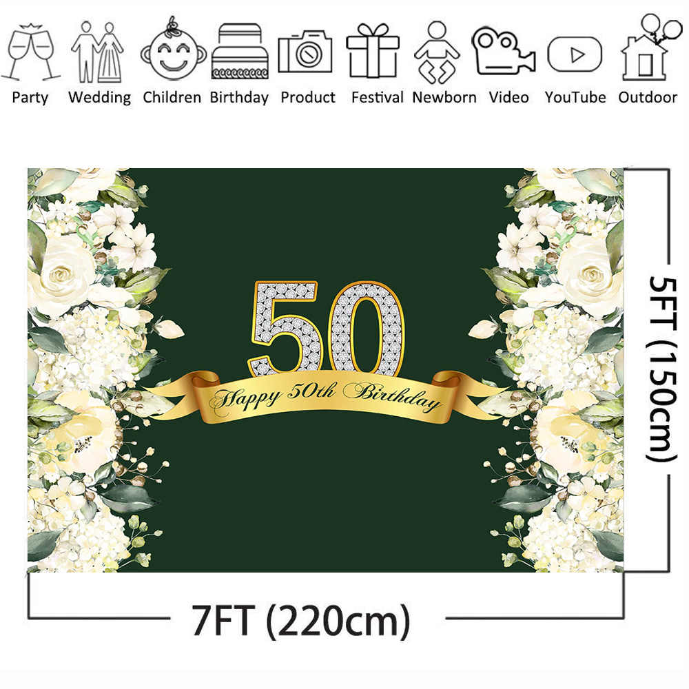 Neoback Photography Backdrop Happy 50th Birthday Spring Flower Wall Wedding Party Decoration Background For Photo Studio