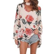 цена на Chiffon Blouse Floral Plus Size Shirt 5XL 4XL 3XL XXL Long Sleeve V Neck Boho Blusas 2019 Kimono Modis Womens Tops And Blouses
