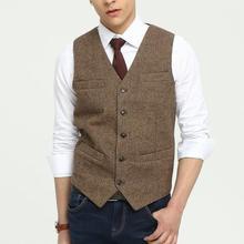 Винтажные коричневые шерстяные твидовые жилетки тонкие мужские костюмные жилеты на заказ костюм без рукавов пиджак свадебный жилет мужской жилет
