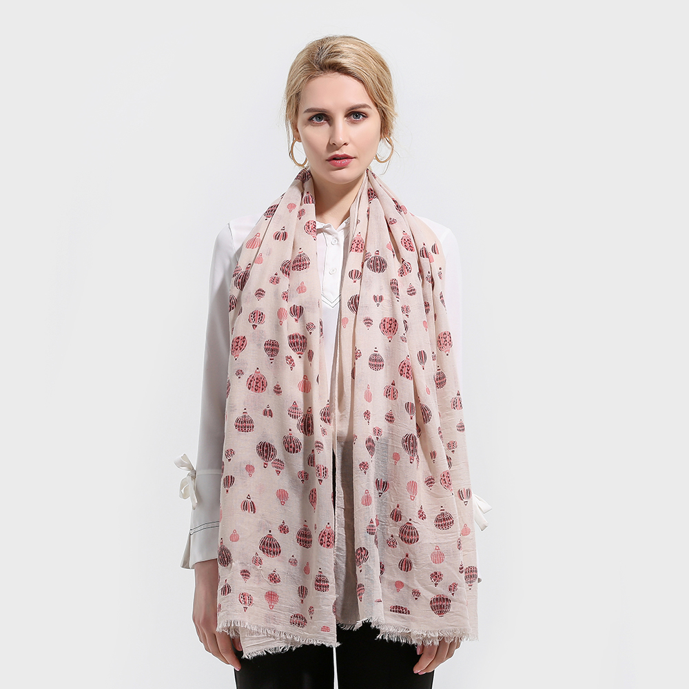 Winfox 2018 New Fashionable Beige Hot Air Balloon Print   Scarf   Foulard Femme Hijab   Scarves     Wrap   For Womens Mother Gifts