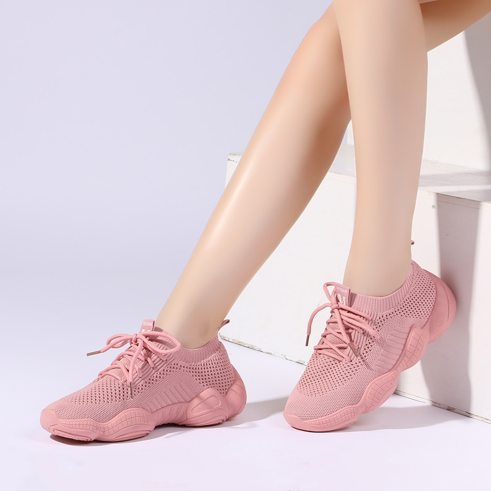 Women's Sneakers Mesh Breathable Pink Ladies Shoes Lace-up Lightweight Women Platform Shoes Zapatillas Mujer Size 35-40 802W