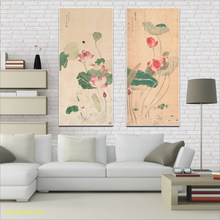 Hanging Wall Art Chinese Painting Lotus Picture Vintage Posters and Prints Home Decor Abstract Painting Large Size On Canvas Art(China)