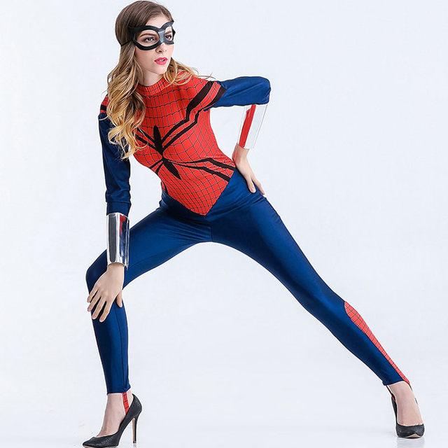 2017 Women Clothing Spider Man Sexy Jumpsuit Costumes Adult Spider Man Costumes For Halloween Cosplay Carnival Costume W880333