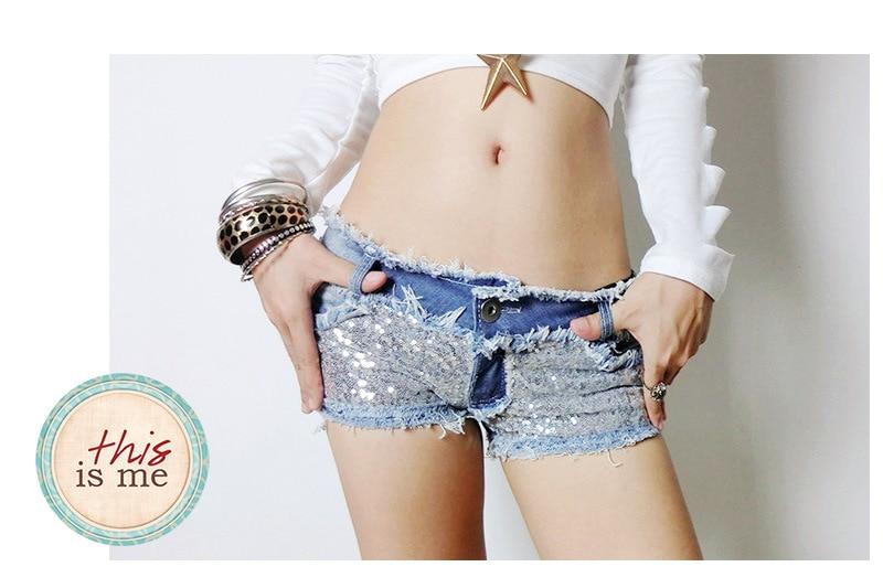 New Flicker Hot Shorts Pole Dancing Wear Sexy Women Micro Mini Bikini Denim Shorts Tassel Low