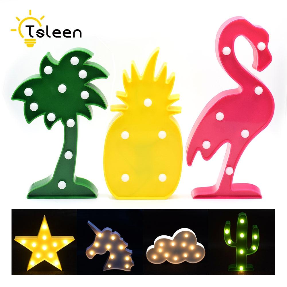 Special Novelty 3D Flamingo Night Lights Cactus Cloud Star Heart Unicorn Shape LED Lamp Bedroom Decoration Light For Kid