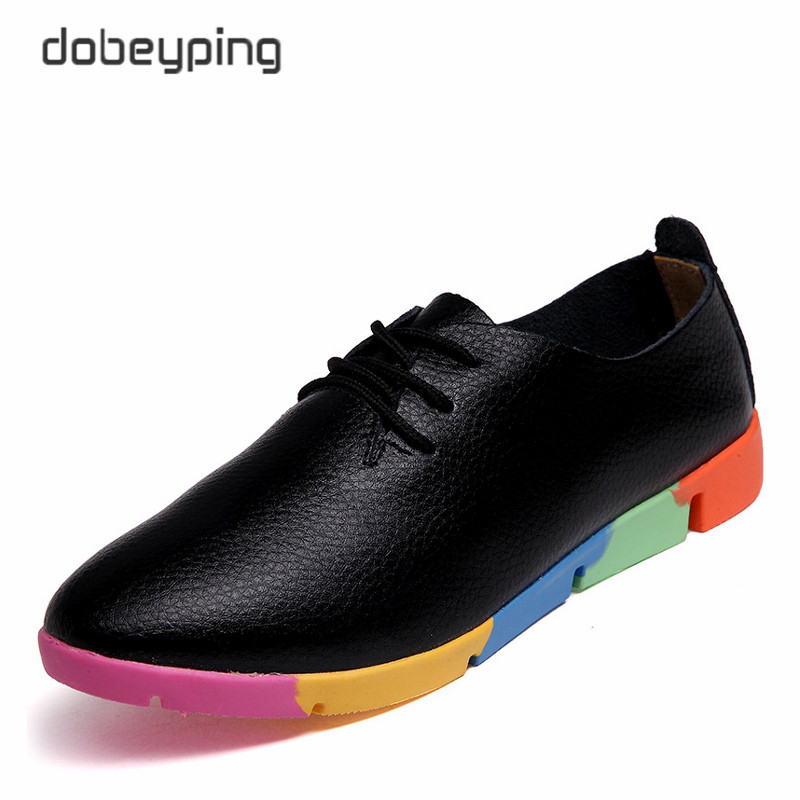 New Autumn Women's Casual Shoes Genuine Leather Woman Loafers Lace-Up Female Flats Shoe Pointed Toe Footwear Plus Size 35-44 2017 spring autumn new genuine leather lace up oxford shoes female thick bottom flats shoes europe style martin shoe obuv