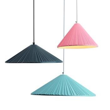 Nordic Post modern colorful resin pendant lights restaurant bar creative Umbrella bedside simple macarons LED lighting fixture