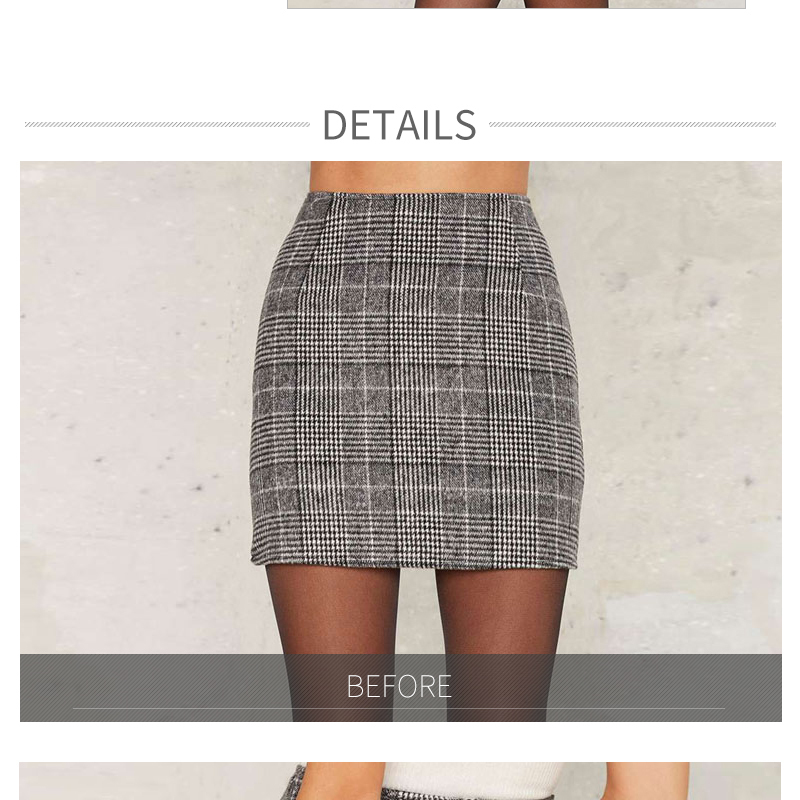 Haoduoyi Pencil Sexy High Waist Plaid Mini Short Skirt Casual Women Office Lady Buttoms Zipper Back Hot Sell The New Listing 5