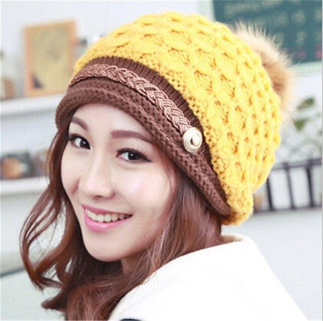 Inverno-Outono Mulheres Elegantes Chapéu Gorros De Malha Chapéus Para A  Mulher Senhoras Moda Feminina ae9f4f5e921
