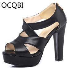 Womens High Chunky Heel Gladiator Sandals Shoes Platform Size33 Back Zipper Black