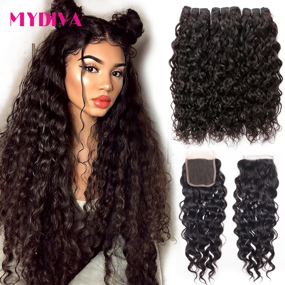 Water Wave Bundles With Closure Brazilian Hair Weave Bundles With Closure Non Remy Hair Extensions Bundle