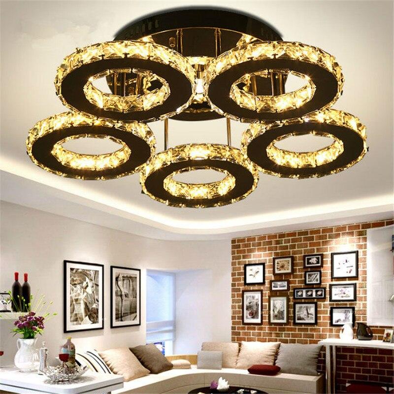 5 anillos de Cristal Led lámparas de techo acero inoxidable espejo Lustre Cristal Para cocina estudio Luminarias Para Teto lámparas