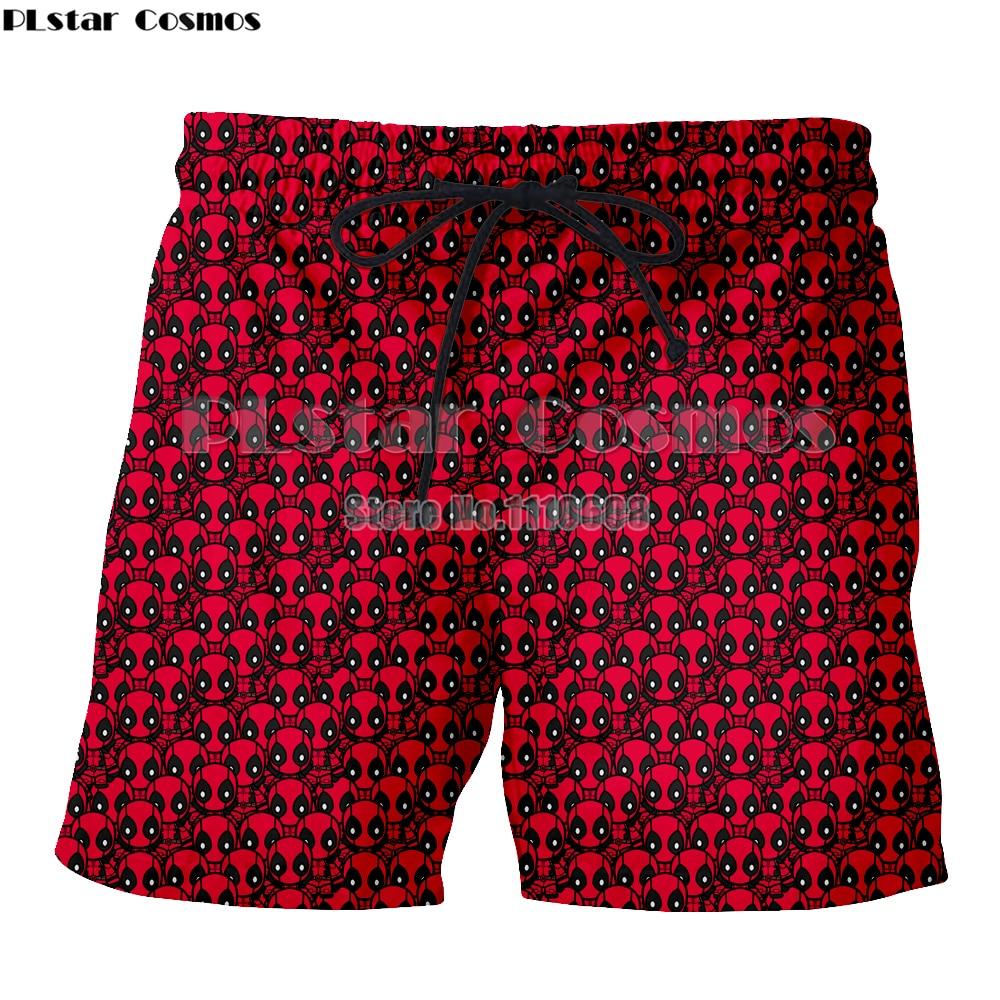 PLstar Cosomos Cosplay Super Hero Deadpool   Board     Shorts   Quick Dry   Short   Pants Breathable Summer Mens Beach   Shorts   Elastic Waist
