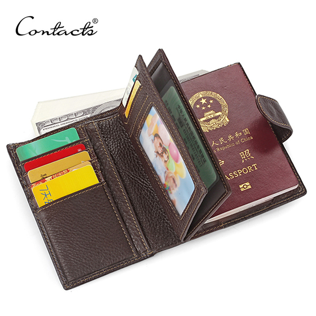 Mens עור אמיתי האמיתי CONTACT'S דרכון כיסוי דרכון ארנק עור פרה זכר מותג גבר ארנקים מחזיק ארנק אשראי & מכונית מזהה