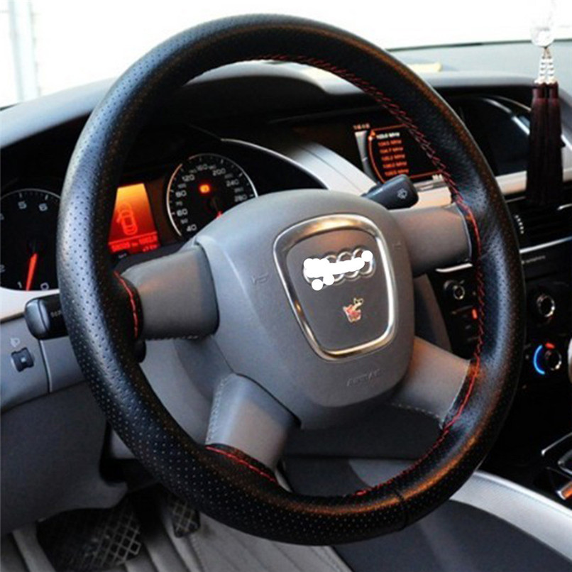 Car-styling DIY Leather Soft Steering Wheel Cover Needle Thread Anti-slip car covers car accessories