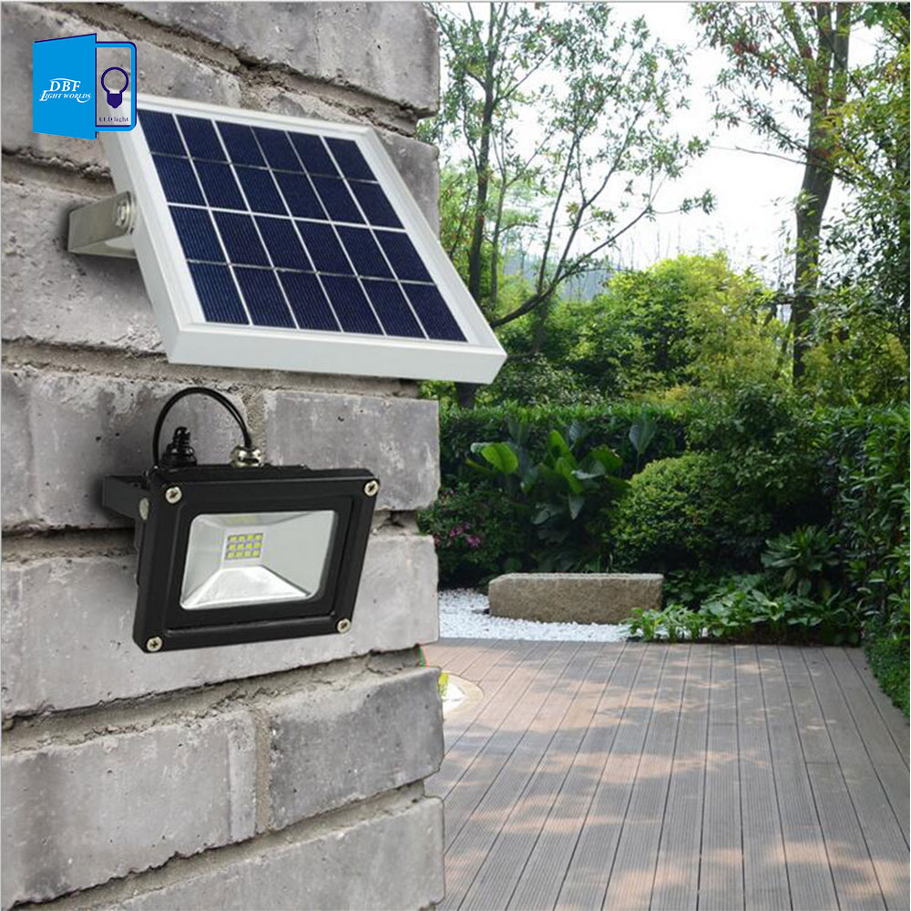Outdoor Solar Powered Led Flood Light 10w With 5m Wire 2200ma Battery For Garden Solar Floodlights Spotlights Lamps Waterproof