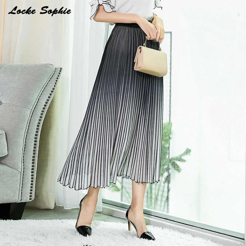 Faldas de cintura alta faldas plisadas para mujer 2019 otoño moda gasa malla empalme gradiente plisado Falda Mujer Faldas Casuales