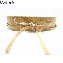Valink 2017 New Fashion Women Belt Soft PU Leather Wide Self Tie Wrap Around Waist Band Dress Belt