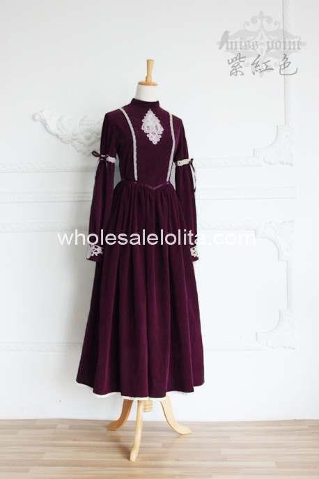 Высококачественное винтажное платье в стиле королевского двора, современное платье в викторианском стиле - Цвет: Фиолетовый