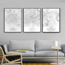 BIANCHE WALL Nordic Canvas Posters Living Room Wall Art Pictures Home Decor China City Black White Map Painting