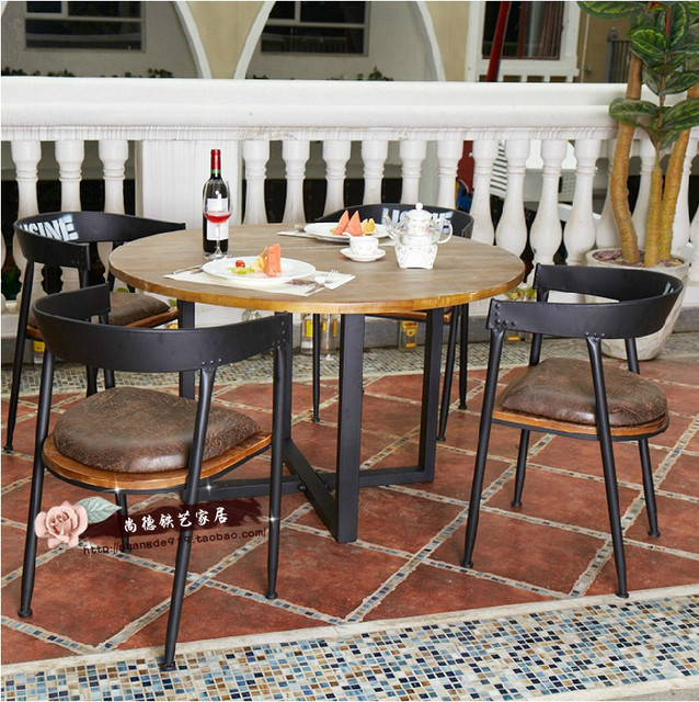 Suntech LOFT Vintage Wood Tables And Chairs Coffee Table Wrought Iron  Balcony Outdoor Patio Casual Coffee