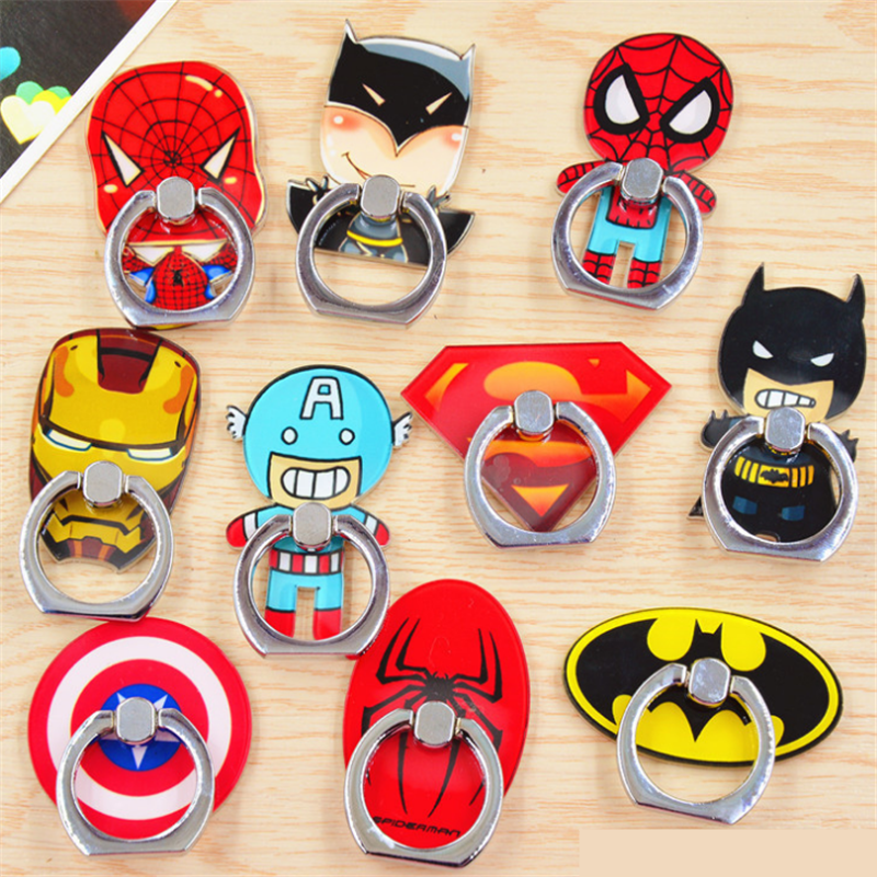 UVR 360 Degree Hero Character Finger Ring Spiderman Smartphone Stand Holder Mobile Phone Holder Stand For IPhone All Phone
