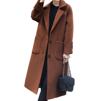 Plus Size 5XL New Winter Wool Blends Coat Women Manteau Femme Hiver Long Parka Outwear Fashion Pockets Woolen Jacket Women C3793