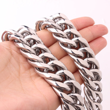 Miami Cuban Chains For Men Hip Hop Jewelry Wholesale Silver Color Thick Stainless Steel Big Chunky Necklace  22mm Wide