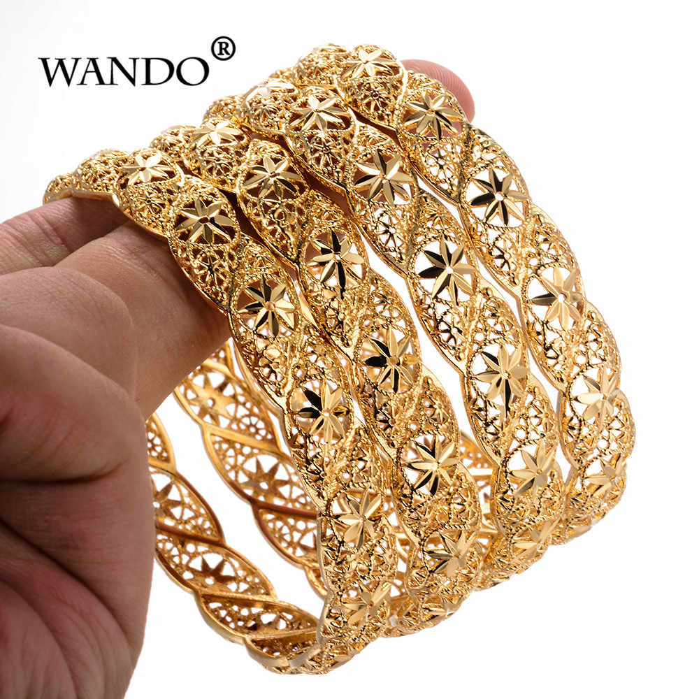 WANDO 4pcs/lot Ethiopian Gold Color Wedding Bangles for Women Bride Bracelet African Jewelry Ramadan Middle East Items gifts B12