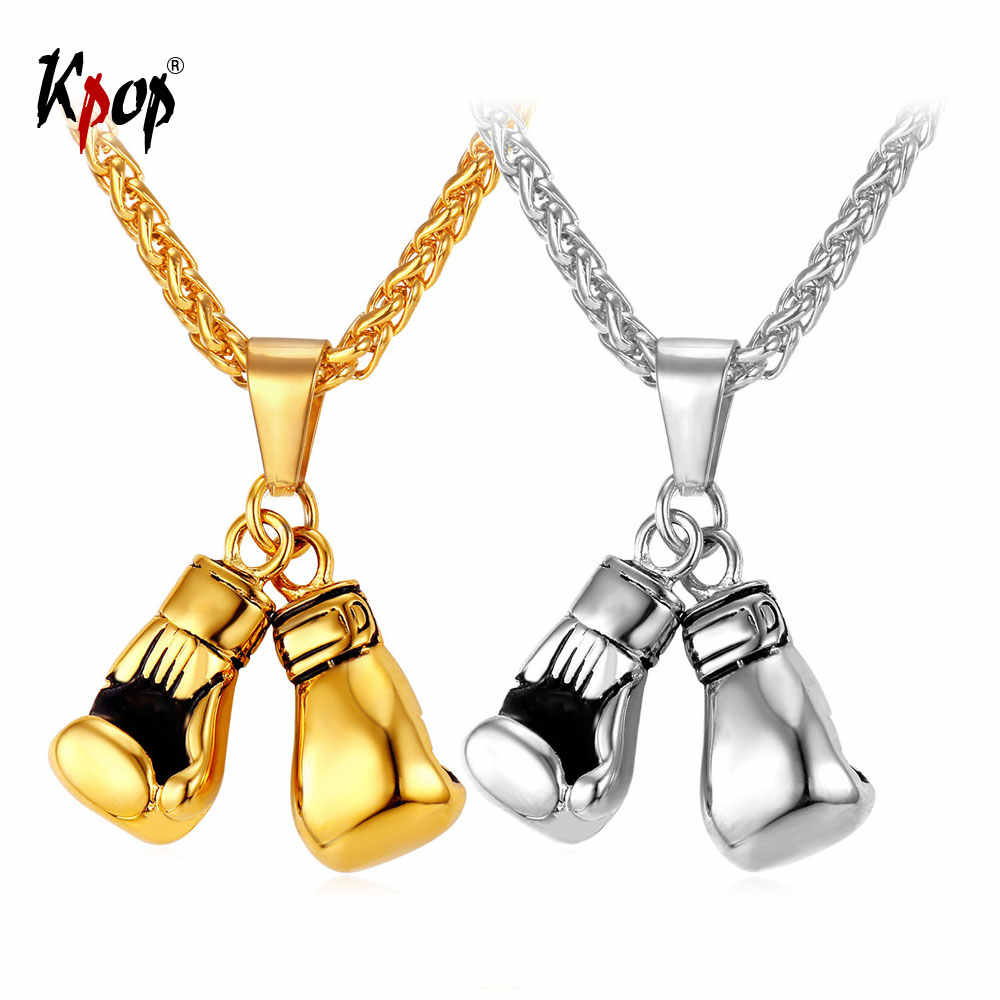 Kpop Necklace Men Sport Jewelry Boxer Gift Stainless Steel Gold Color Boxing Gloves Pendant Necklace P2171