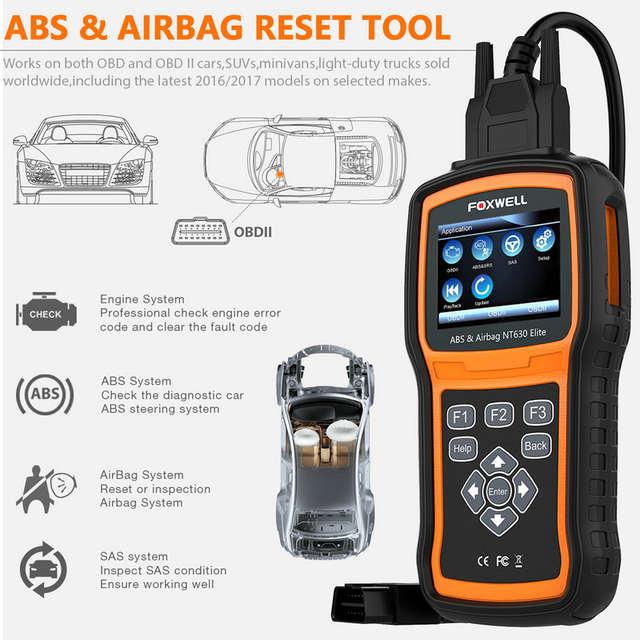 OBD2 Scanner Foxwell NT630 Elite OBD 2 ABS Airbag SRS SAS Crash Data Reset  Auto ODB2 Car Diagnostic Tool OBD Automotive Scanner