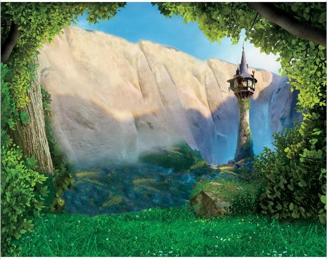 5x7ft Tangled Rapunzel Princess Forest Rocks Bald Mountain