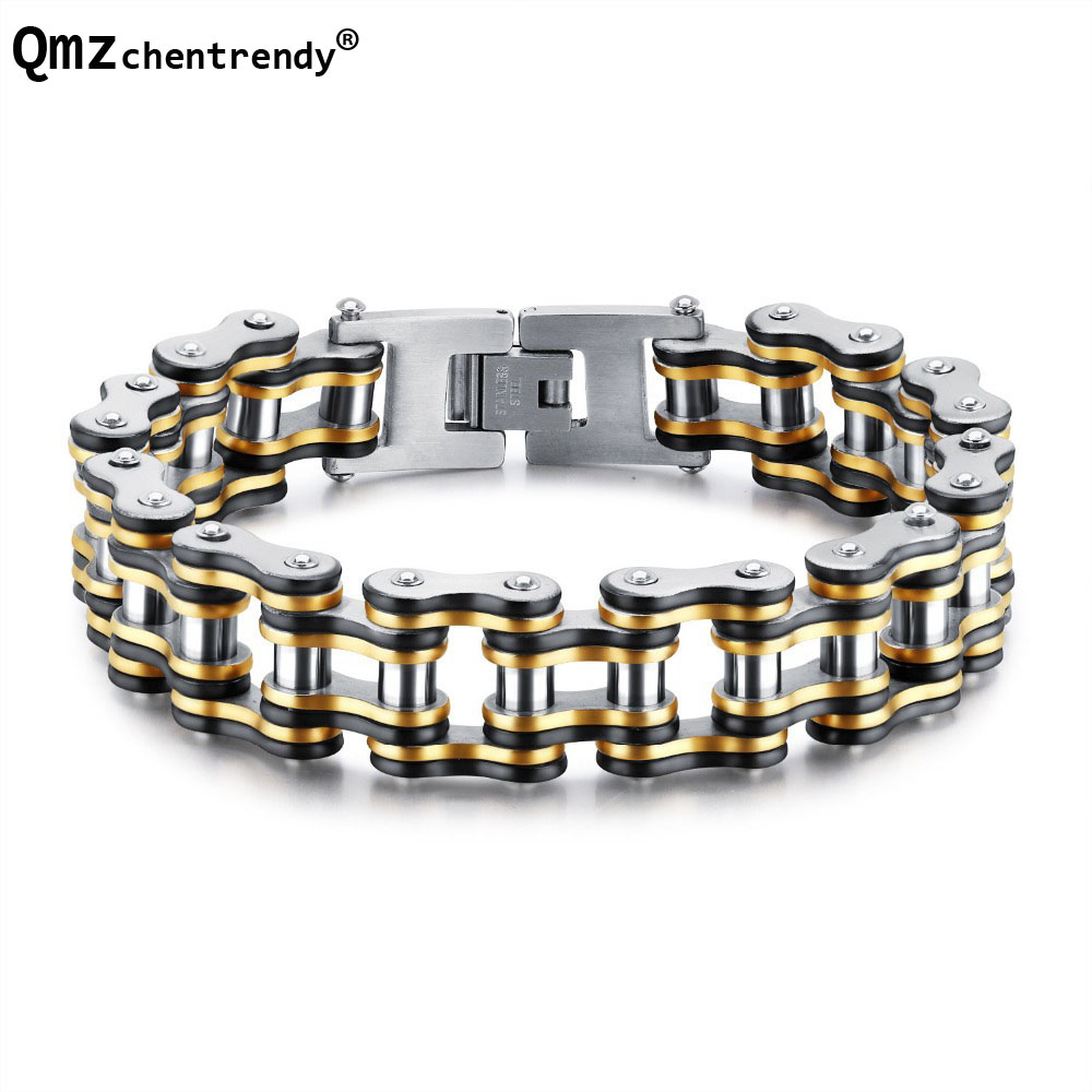 Fashion Men Biker Bicycle Motorcycle Chain Men's Bracelets & Bangles 2 Colors 316L Stainless Steel chain Jewelry 15mm 20.5cm