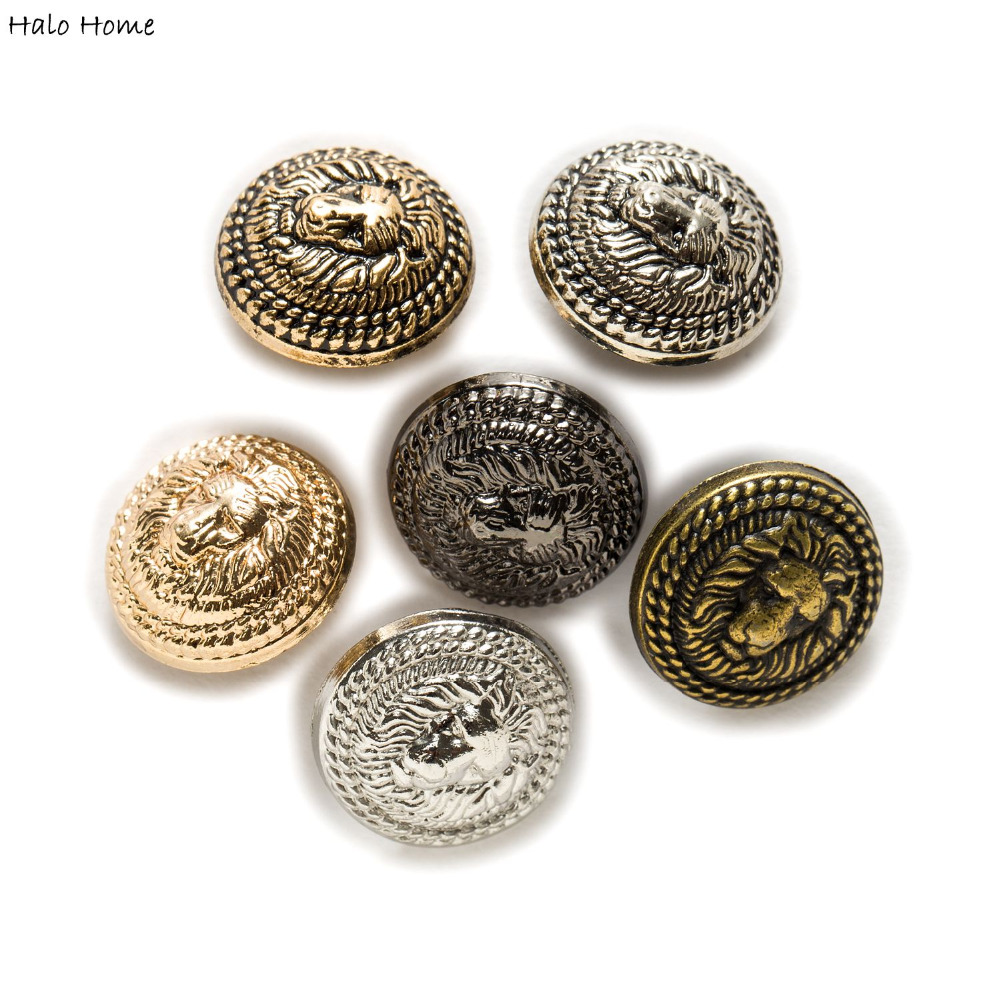 10pcs Bronze Lion Carved Metal Round Shank Buttons Coat Sewing Embellishment DIY