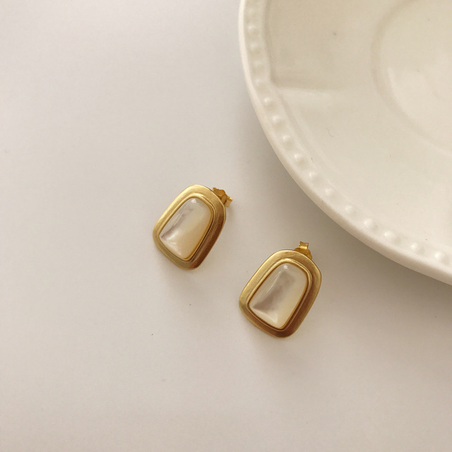 LouLeur 925 sterling silver black agate shell Trapezoid stud earrings gold fashion elegant earrigns for women festival jewelry-in Earrings from Jewelry & Accessories on Aliexpress.com | Alibaba Group