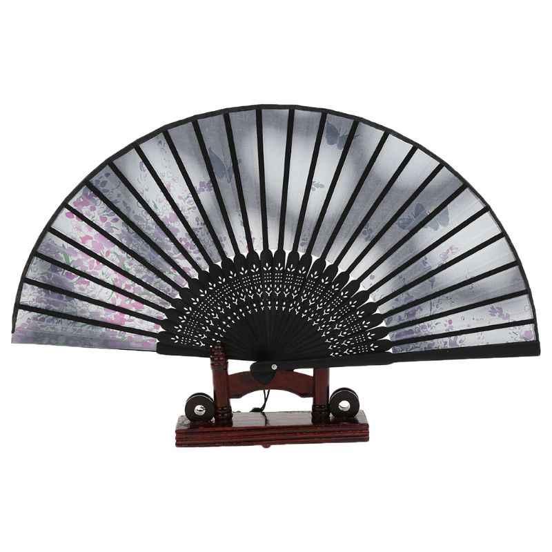 Ретро японский китайский складной Шелковый ручной вентилятор бабочка цветок Бамбук Свадебная вечеринка танцевальный Декор подарок