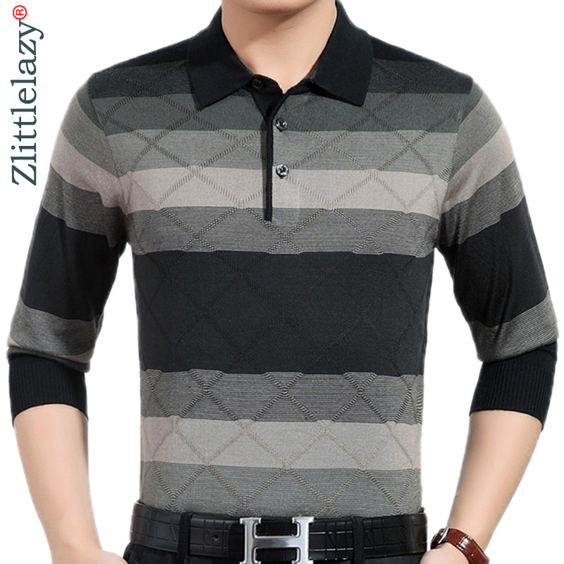 2018 new designer brand long sleeve slim fit   polo   shirt men casual jersey thick striped mens   polos   winter warm tee shirt 41296