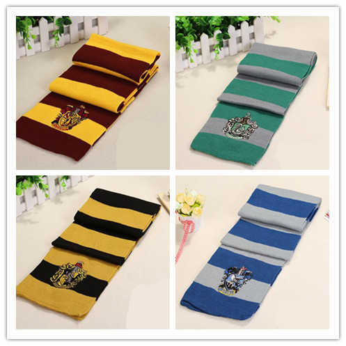 Child Boy Girl Scarves Potter Harry Series Cotton Embroidered Striped Scarves Cute Wraps Badge Personality Cosplay Knit Scarve(China)