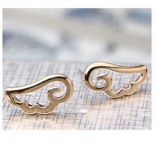 Wing stud earrings hot selling 2015 New cute Angel Wings Cheap simple stud Earrings Fashion jewelry accessories gift for woman