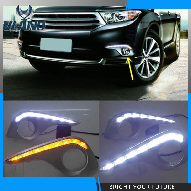 Car styling LED Daytime Running Light For Toyota Highlander DRL 2012 Yellow Turn Signal Lights new car styling auto lamp for toyota highlander 2012 2014 type c led daytime running light drl car accessories