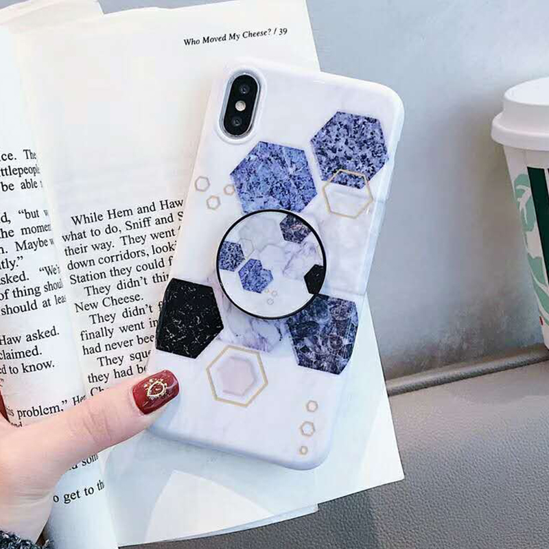 Geometric Marble Pattern Kickstand Phone Case For iPhone XS Max XR X 6 6S 7 8 Plus Fashion IMD Soft Protective Back Cover Coque (15)