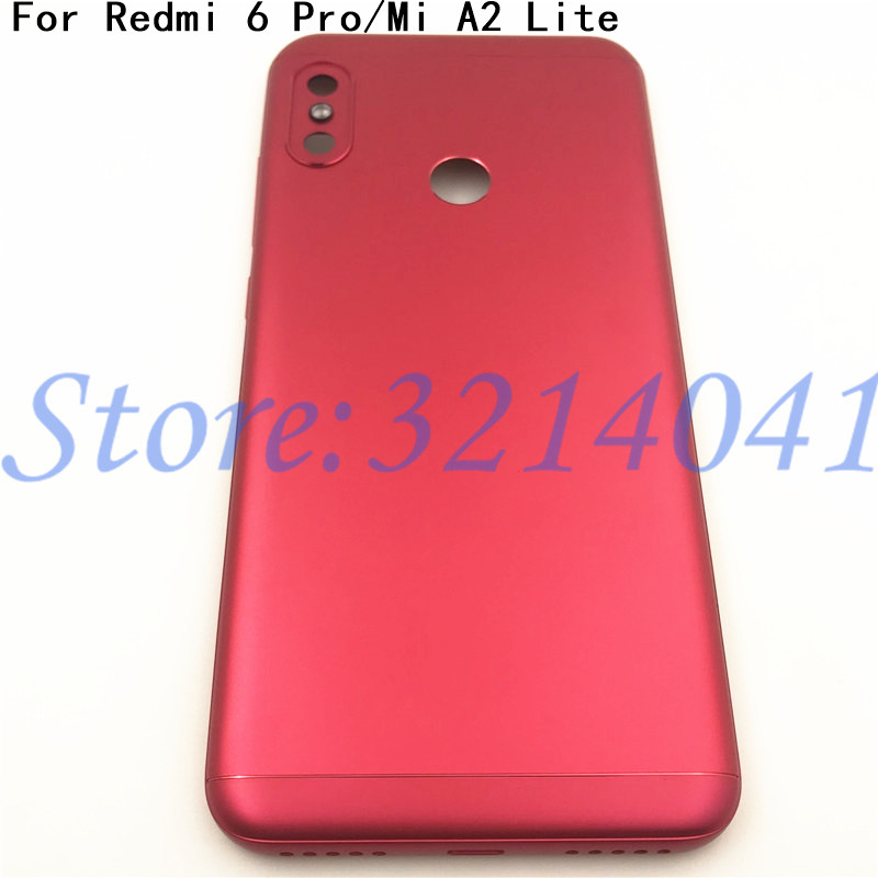 New For <font><b>Xiaomi</b></font> <font><b>Mi</b></font> <font><b>A2</b></font> Lite/ Redmi 6 Pro <font><b>Battery</b></font> Back <font><b>Cover</b></font> Rear Housing Metal Door Camera Glass Lens And button+Logo image