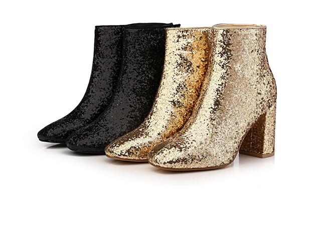 ФОТО Sequined cloth women shiny short boots square toe 8 cm chunky heels bling women 2017 Autumn booties ankle boots black gold