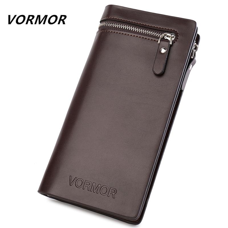 VORMOR Top Quality leather long wallet men pruse male clutch zipper around wallets men women money bag pocket mltifunction
