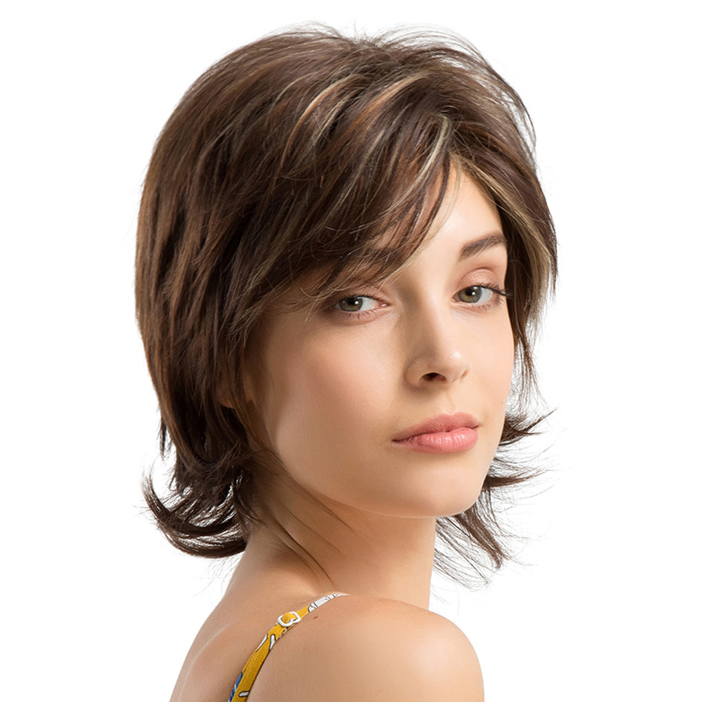 10 Inch Natural Curly Pixie Cut Layered Wig for Women Human Hair with Side Fringe side bang women s curly short siv hair human hair wig